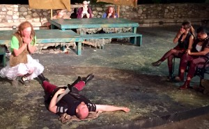A surprisingly hilarious rendition of Romeo & Juliet in the middle of the play.